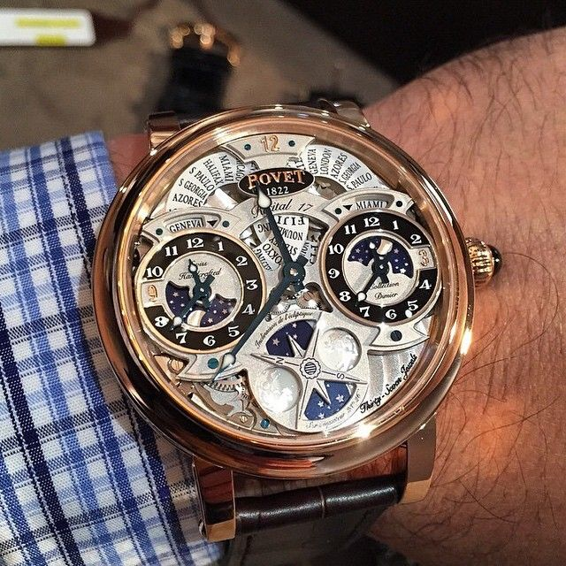 The Recital 17 is a triple time zone with double moon phase featuring extraordinary dials that add to the #timepiece's strong personality and demonstrates the brilliance of the Bovet watchmakers.