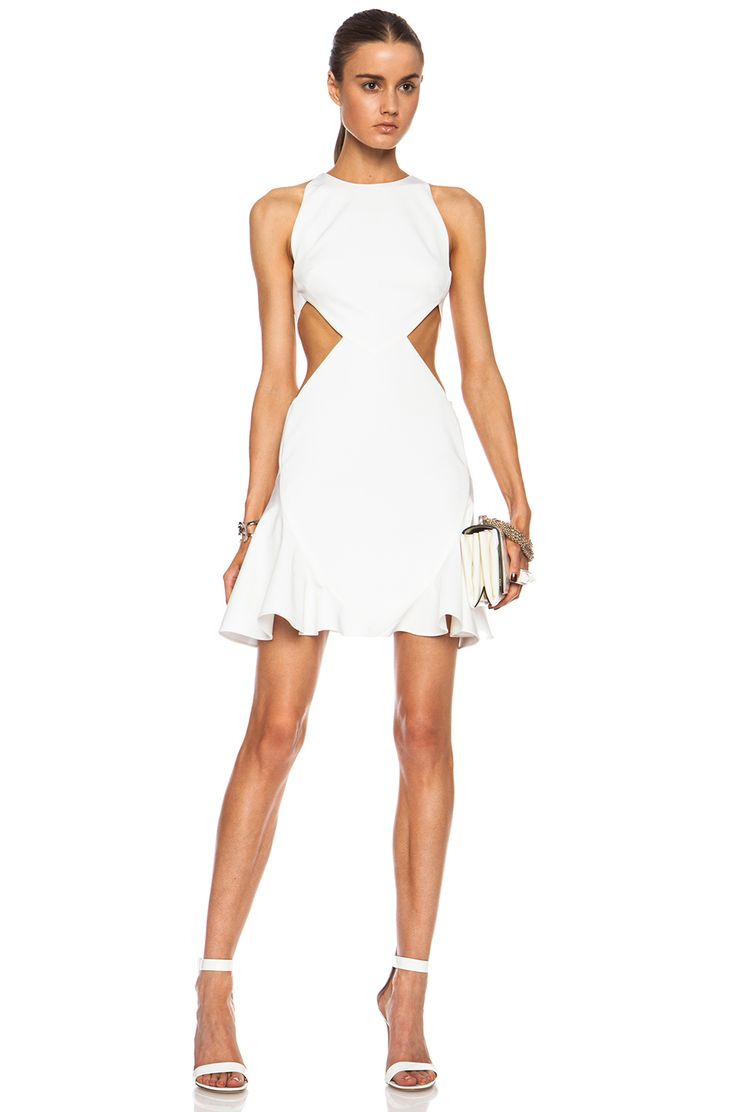 Image 1 of FORWARD & Cushnie et Ochs EXCLUSIVE Flared Viscose-Blend Dress with Side Cutouts in White