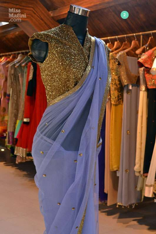 Light Blue #Saree With Gold Sequin #Blouse. Shilpa Reddy's Collection At AMARA.