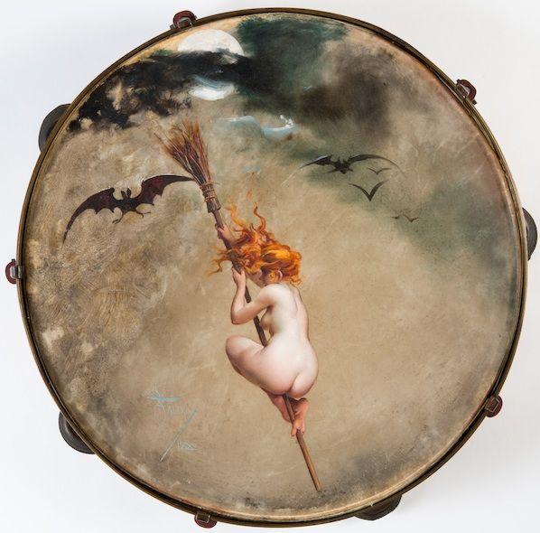 Luis Ricardo Faléro (1851-1896 ) La sorcière . Huile sur parchemin - Diamètre : 28,5 cm
