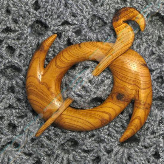 Купить Заколка для трикотажа 0705035 - бежевый, однотонный, заколка для шали, заколка для палантина, заколка для трикотажа