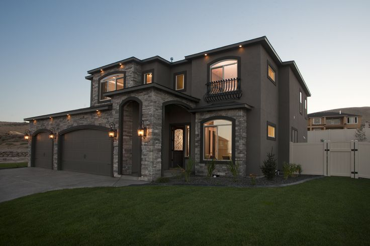 High Desert Elevation with European Influence. Stucco siding and Cultured Stone in Echo Ridge Country Ledgestone.