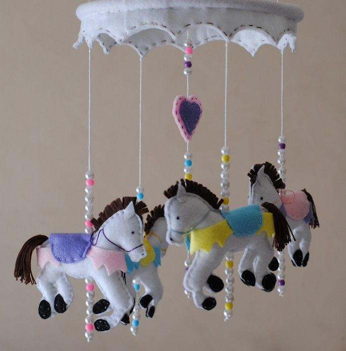Riding the Carousel ~ 4 carousel horses ~ mobile - by RazzleDazzle4U on madeit