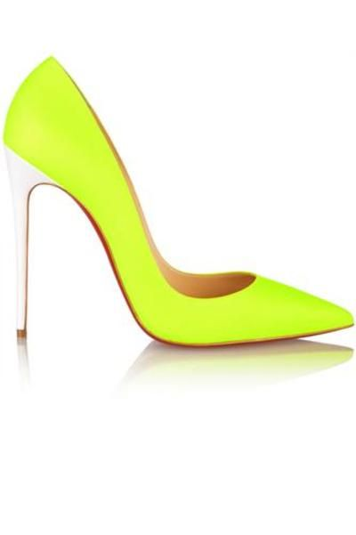So Kate 120 neon leather pumps #pumps #covetme #christianlouboutin