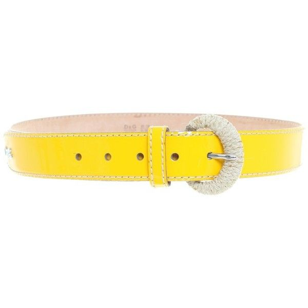 Pre-owned Patent leather belt in yellow (€99) ❤ liked on Polyvore featuring accessories, belts, yellow, buckle belt, polka dot belt, d&g belt and yellow belt