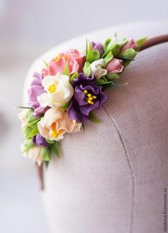 """Купить Ободок """"Дыхание лета"""" - коралловый, персиковый, фиолетовый, ободок для волос, ободок с цветами"""