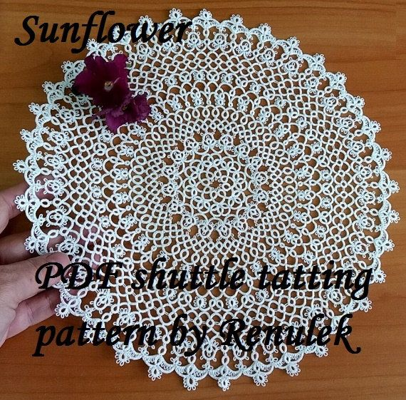 PDF Original Shuttle Tatting Pattern napkin Sunflower by Renulek