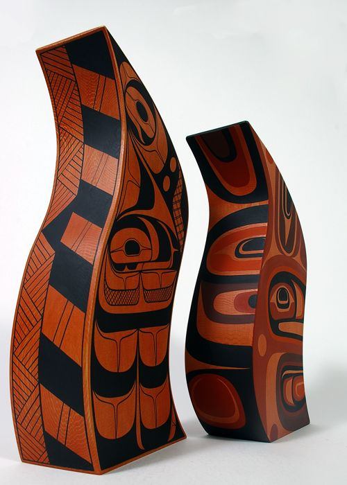 Rod Smith & Steve Smith, Painted Red Cedar Sculpture: Big Brother, Little Brother