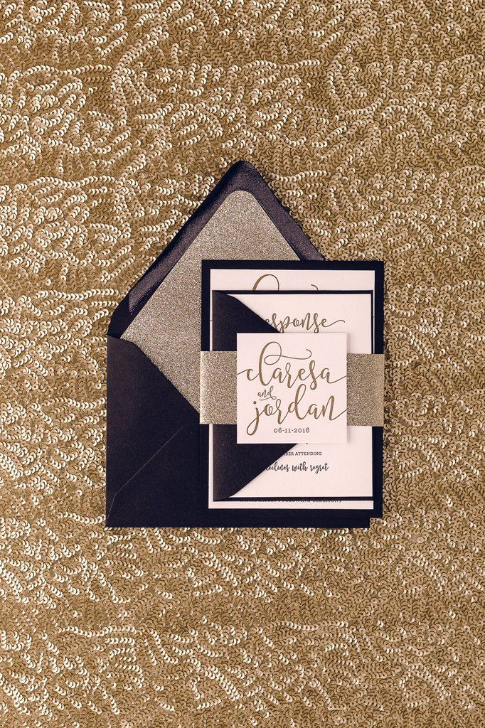 what does it mean when wedding invitation says black tie invited%0A Glitter Wedding Invitations  Affordable Letterpress  u     Just Invite Me
