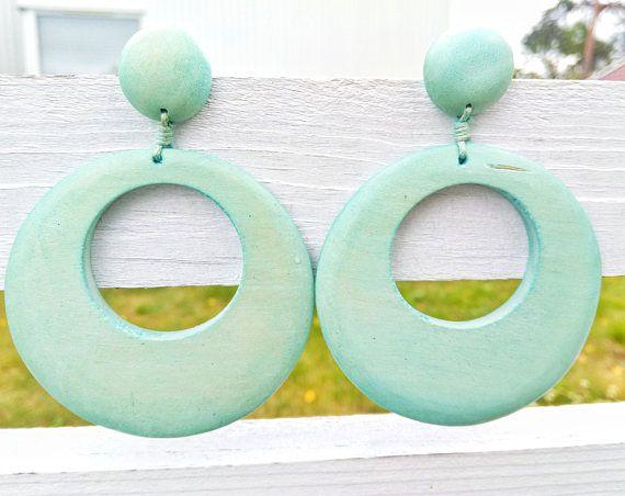 Statement Wood Drops Light Blue Dangles Blue Wood Earrings