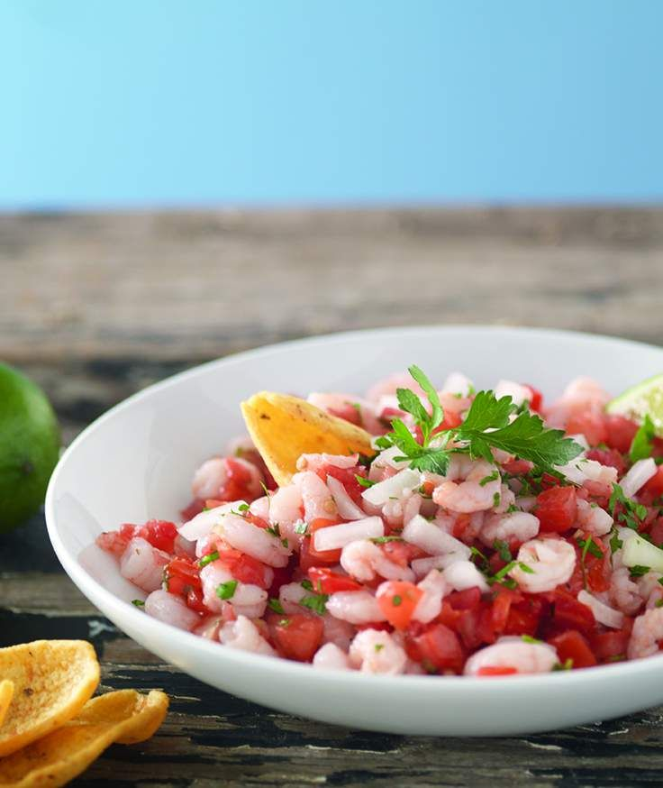 What a simple and easy idea.... It's just baby shrimp, pico de gallo and lime juice. Eat with chips.