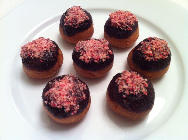 Chocolate dipped mini cake