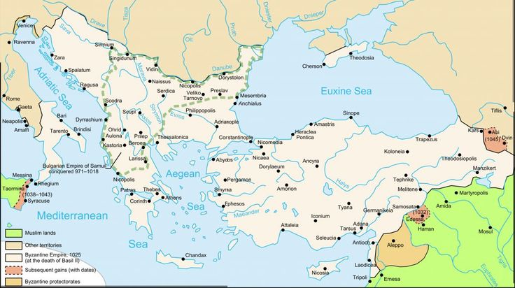 Byzantine Empire Map Death Of Basil 1025