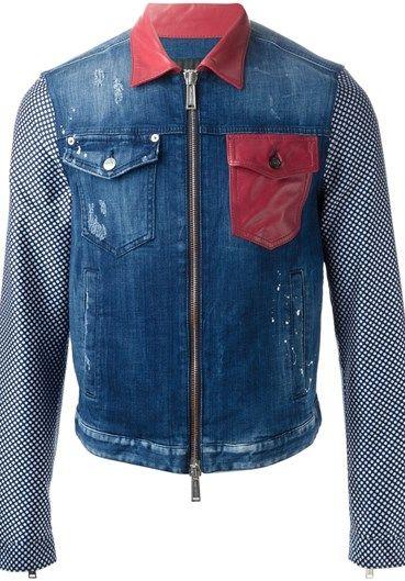 #Blue silk, #cotton and #leather contrasting panel #biker #denim #jacket from #DSQUARED2 featuring a classic collar, long sleeves, a front zip fastening, two chest pockets, two inset pockets to the sides, a zip detailing at the cuffs and distressed effects.