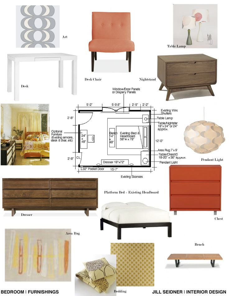 Furnishings Concept Board For A Mid Century Master Bedroom Interior Design