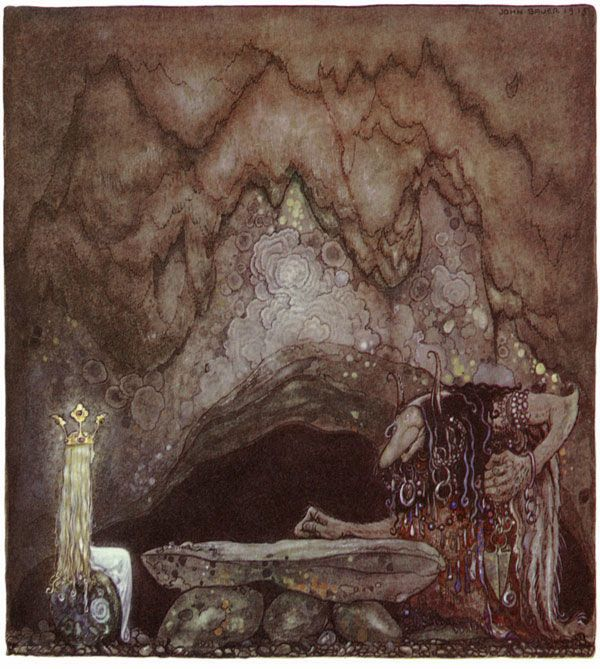 """Troll Lunch, by John Bauer. """"Did you like your meal?"""" Troll Mother asked the princess."""