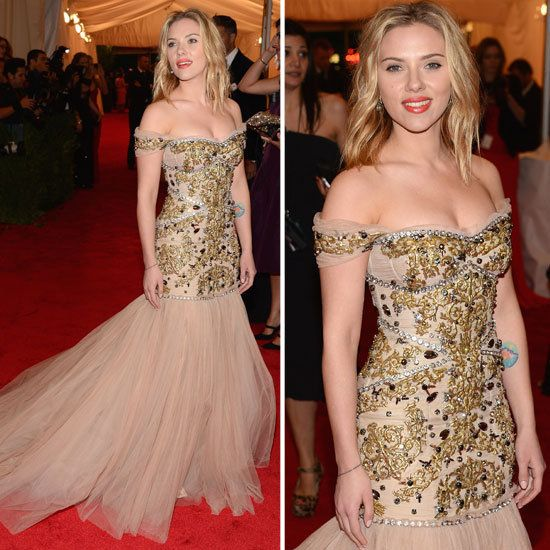 Scarlett Johansen working the red carpet in a beautiful couture gown