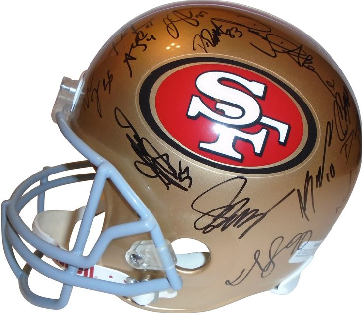 2012 San Francisco 49ers Team Autographed Riddell Full Size Football Helmet, Proof. This is a brand-new 2012 San Francisco 49ers team signed Riddell full size deluxe replica football helmet.  The following 49ers signed the helmet in black sharpie: Head Coach Jim Harbaugh, Frank Gore, Chris Culliver, CJ Spillman, Delanie Walker, Larry Grant, Lamichael James, Bruce Miller, Tom Rathman, Scott Tolzien, AJ Jenkins, Alex Boone, Dashon Goldson, Joe Looney, Joe Staley, Andy Lee, Demarcus Dobbs…