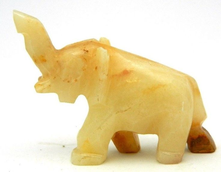 SOLD   Small Carved Marbled Quartz Stone Figurine Of An Elephant Raising  Itu0027s Trunk Up In