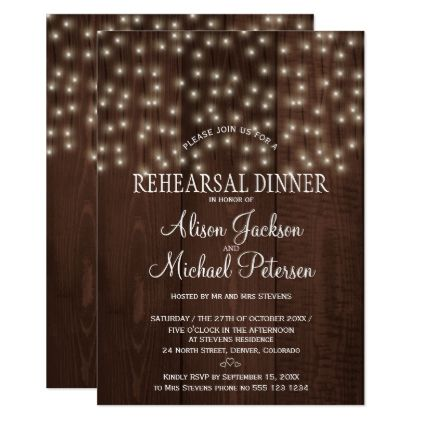 #Twinkle lights rustic night rehearsal dinner card - #weddinginvitations #wedding #invitations #party #card #cards #invitation #simple