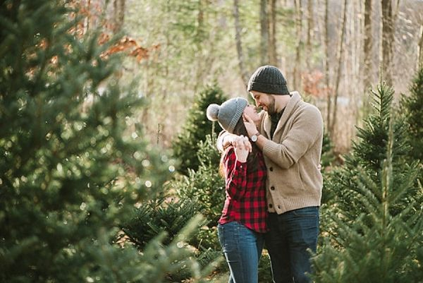 Charming Christmas Tree Engagement Photos by Boston Wedding Photographer Annmarie Swift | Featured on Heart Love Always | View more: http://www.heartlovealways.com/2014/12/charming-christmas-tree-farm-engagement-session/