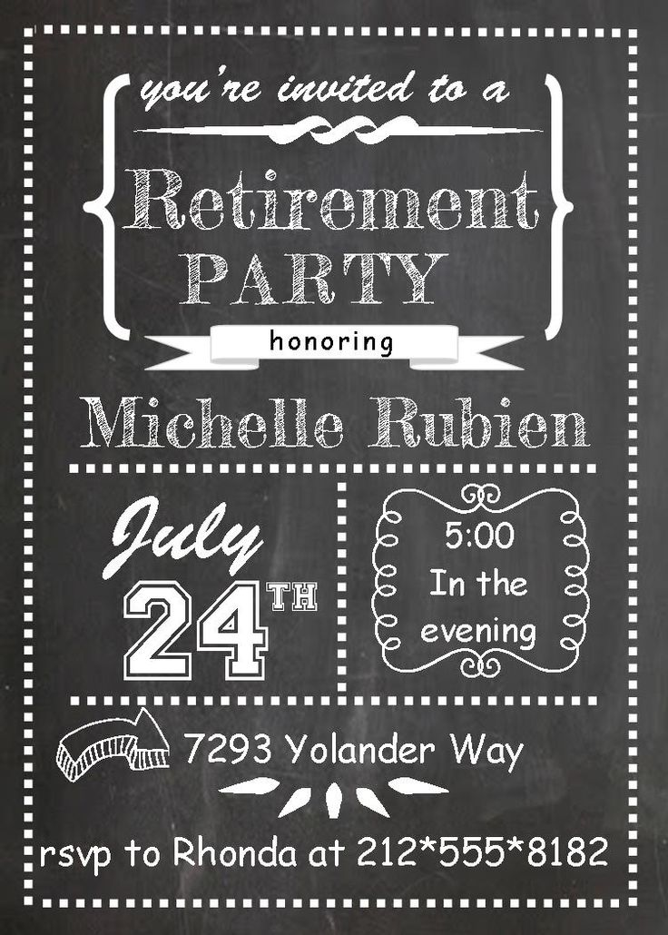 chalk board teacher retirement Invitations