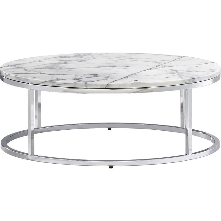 Shop Smart Round Marble Top Coffee Table. Open Cylinder Construction Of  Slick Polished Chrome Tops