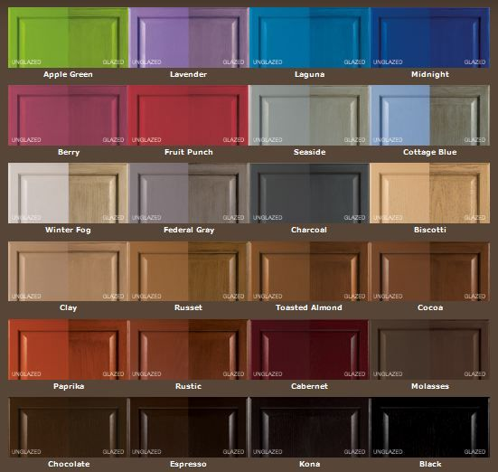 Rustoleum's  Cabinet Transformation Kit  different color choices with the both finish options. Like winter fog, federal way, and seaside.