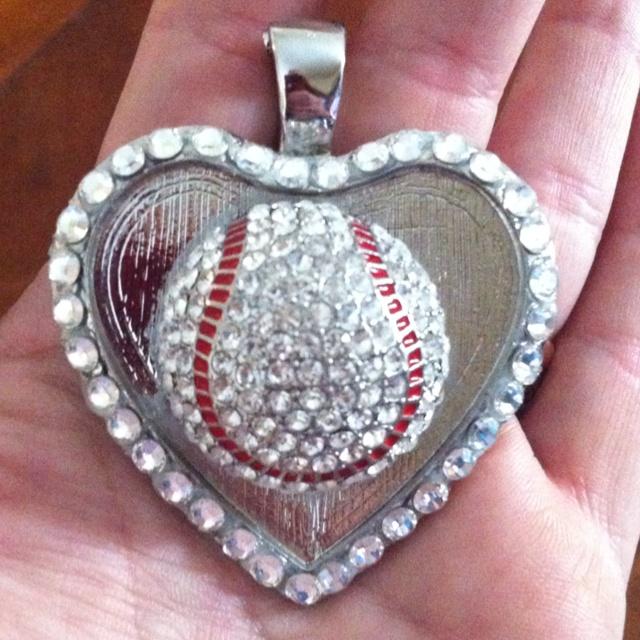 3-D baseball heart charm