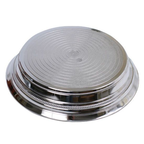 14 inch round silver cake stand. Over 25 different cake stands available to hire / rent.   The Cake Lab Bakery, Ranelagh, Dublin, Ireland. Artisan Baking Studio.