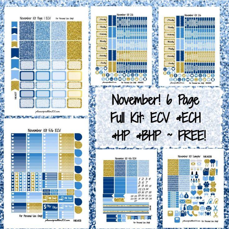 November Weekly KIT! | Free Printable Planner Stickers