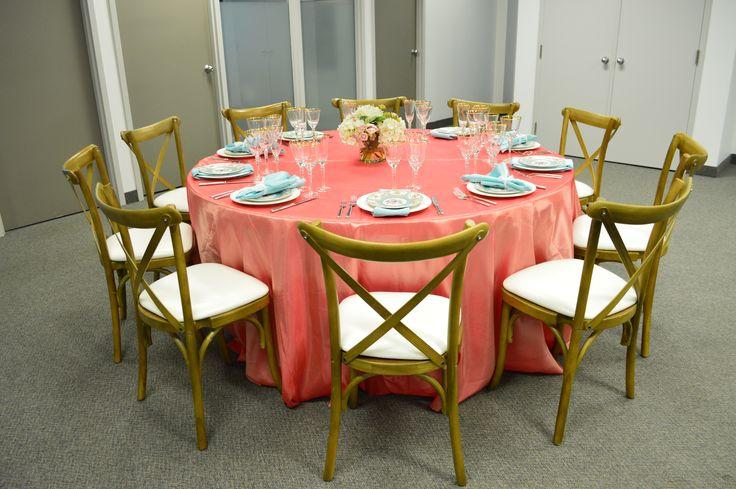 Coral Taffeta Table Linen, Cross Back Chair, Adriana Dinner Plate, Vintage Marie Blue Dessert Plate, Hudson Flatware, Bella Gold Glassware & Tiffany Blue Satin Napkin | Chair-man MIlls