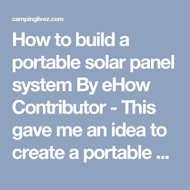 how to build a solar panel system pdf