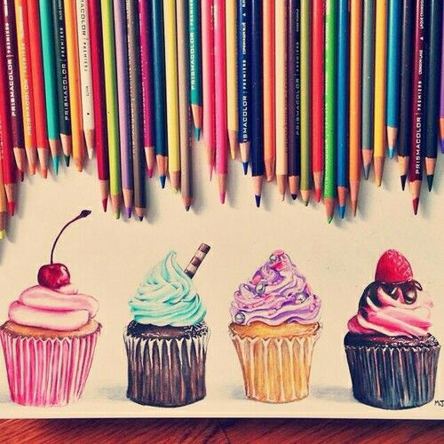 Drawing:Art:Photography:Pencils:: Cupcakes Sweets