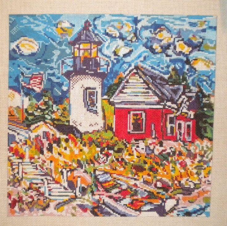 Patti Mann Mike Savage White Lighthouse Scene Handpainted Needlepoint Canvas in Crafts | eBay