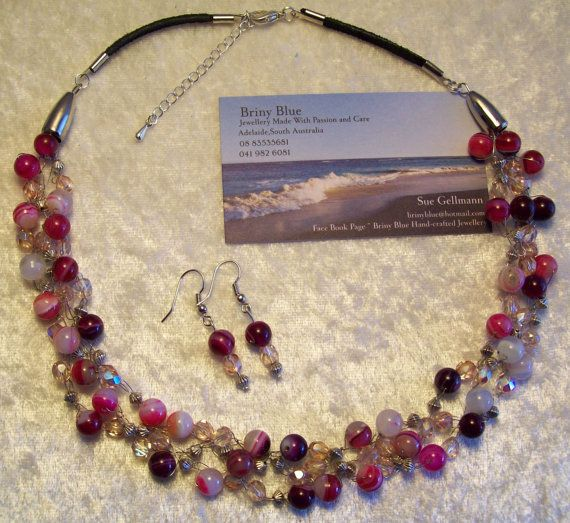 Pink Agate Crocheted Wire necklace with by Sueperbartandjewels