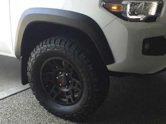 """TRD Pro 17"""" rims and 265/70/17 BFG AT TKO2 tires. Biggest tire to put on witout rubbing, stock suspension"""