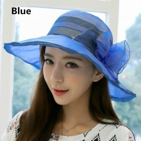 Wide brim sun hat flower decoration silk hats for girls