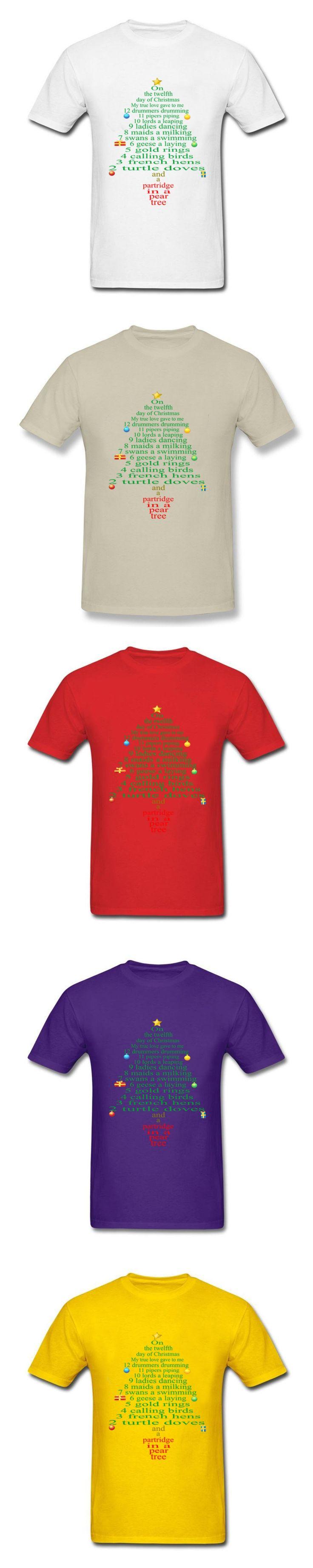 Newest 12 day of christmas lyrics Mens T Shirts  Sale Shirt And Tshirt Crewneck Short Sleeve men T Shirts size xs-xxxl