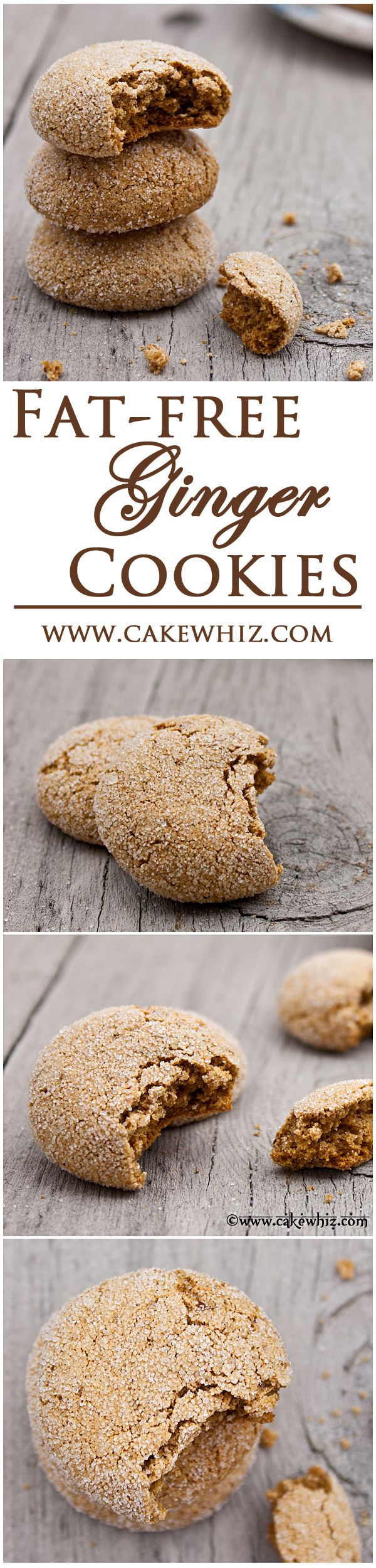 FAT-FREE GINGER COOKIES... inspired by David Lebovitz's recipe. These cookies are spicy, chewy and crunchy! From cakewhiz.com #delicious #recipe #cake #desserts #dessertrecipes #yummy #delicious #food #sweet