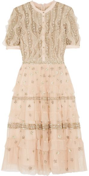 The most dreamy of dresses - Needle & Thread - Jet Frill Ruffled Embellished Tulle Dress - Antique rose
