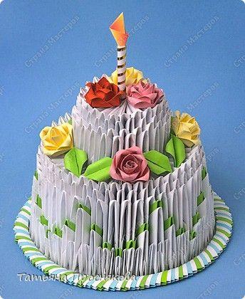Мастер-класс Оригами модульное: Торт на День рождения (низкокалорийный) Бумага День рождения