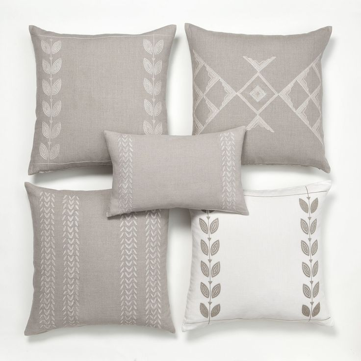 Intricate hand embroidered designs make these pillow covers a real work of art. Combine and create your own composition! // more on ARTHA Collections #throwpillows #linenpillows #beigepillows