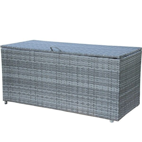 Havenside Home Cheticamp Grey Pe Wicker Outdoor Storage Bin Deck