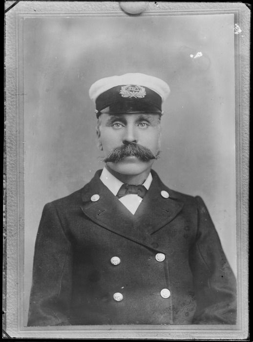 Studio portrait of unidentified sailor with large moustache, probably Christchurch district  [ca 1905-1926