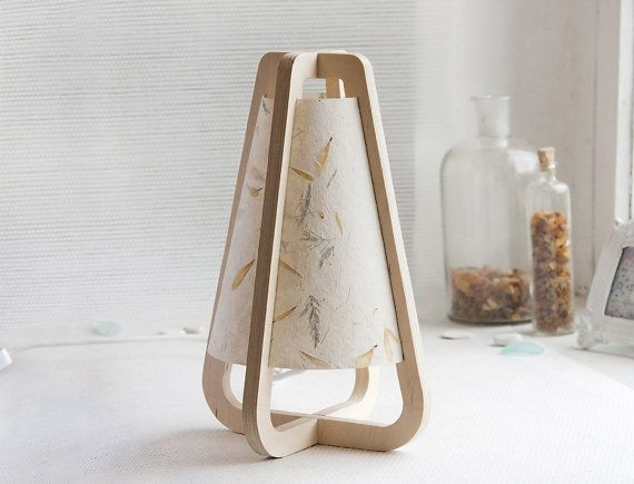 Desk lamp from plywood and handmade paper