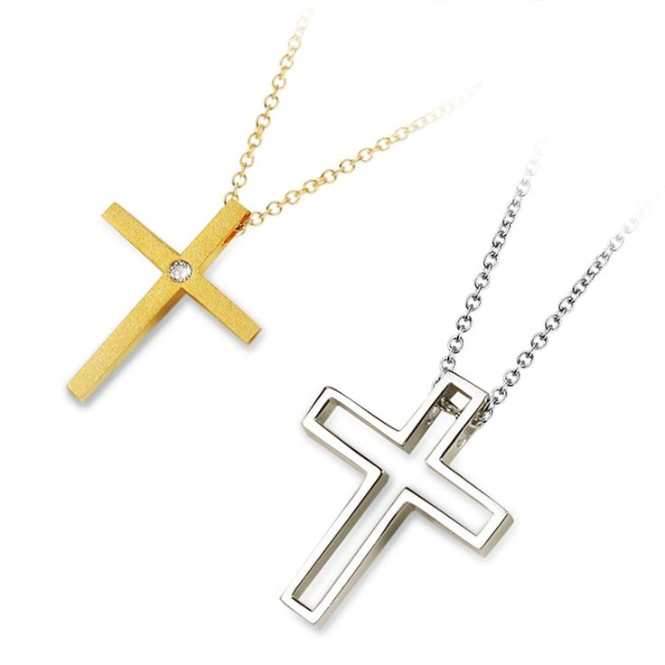 Kardy Fashion Unique Couple Cross Solid Sterling Silver 925 and Gold Plated Cubic Zirconia Necklace Pendant Set for Women and Men * Click image for more details.