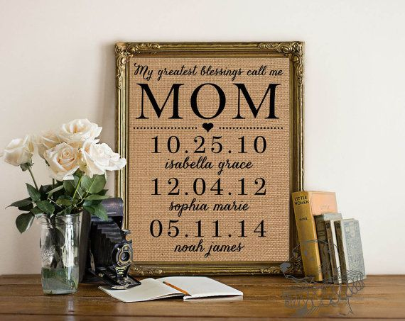 My greatest blessings call me mom | Personalized Mother's Day Gift | Burlap Print | Children's names and birthdates | Frame not included Christmas mantle ideas | picture frames