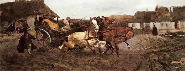 """Próba czwórki"", 1878, olej na płótnie. 71 x 175,5 cm, z kol. prywatnej, fot. GMP"