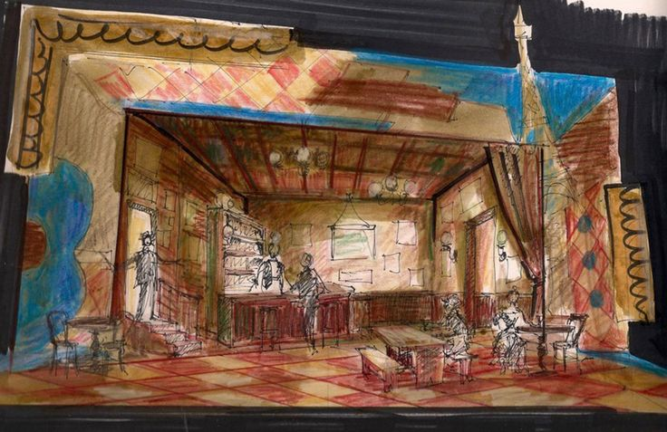 Preliminary drawing for Picasso at the Lapin Agile - Royal Manitoba Theatre Centre Archives. Set design by Brian Perchaluk.